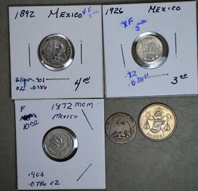 Mexico Lot of 5 Silver Coins