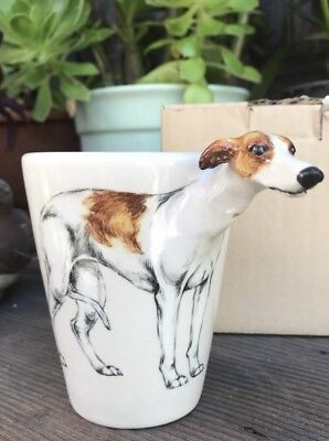 Blue Witch 3D Mug Brown White WHIPPET Dog Ceramic Hand Crafted Cup 11 Oz  #1