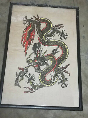 Original Chinese Dragon Ink Watercolour Painting on Rice Paper - Framed & Glazed