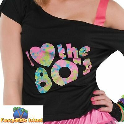 d793568289376 I Love the 80's Eighties T-Shirt Top Womens Hen Do Night Party Fancy Dress