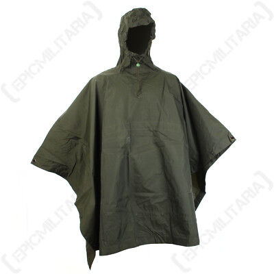 Original Lightweight Olive Green Poncho - Wooden Toggle Surplus Army Camping