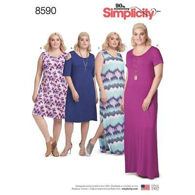 SIMPLICITY SEWING PATTERN Women\'s Knit Dress Sleeve Variations 1Xl ...