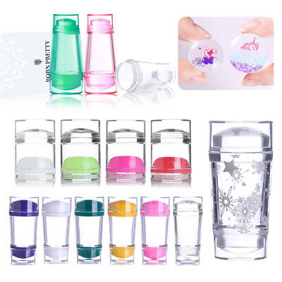 Dual-ended Clear Jelly Silicone Nail Stamper Scraper Lot for Stamping Plates DIY