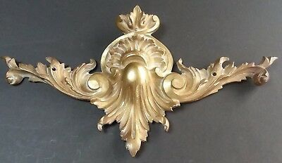 "Antique Brass / Bronze Ormolu Furniture Crest Pediment Topper 15"" Victorian Old"