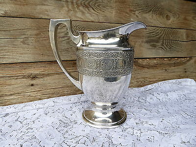 Bernard Rice Sons Silver Plated Apollo Dutchhardt Pitcher ~ Windmill Dutch Scene
