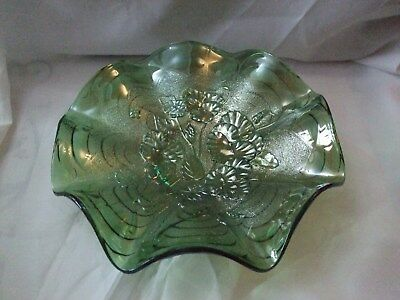 Gorgeous Vintage Carnival Glass Dish.poppy Design.