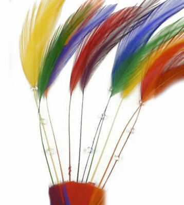 Rainbow Stripped Hackle Plate Fascinator Hat Millinery Feathers x 10