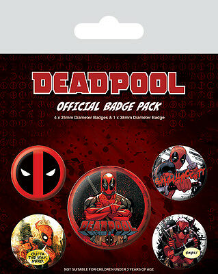 Button Badge 5er Pack DEADPOOL - Marvel Comics 1x38mm & 4x25mm 80538