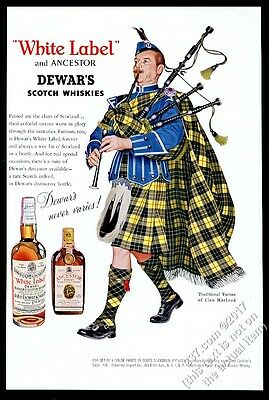 1960 Clan MacLeod tartan bagpipes piper Dewar's White Label Scotch whisky ad
