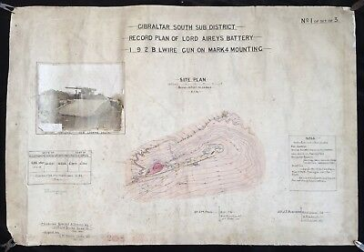 Gibraltar 1901 Lord Airey's Battery Original Hand Drawn & Coloured Plan