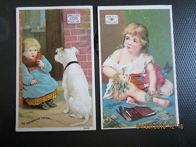 vintage TRADE CARD 2pc JAMES PYLE PEARLING girl doll $$$ GIRL DOG 4 x 2 1/2""