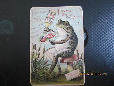 "vintage TRADE CARD HOYT'S GERMAN COLOGNE LOWELL MA 3 1/8 x 4 1/2"" FROG"