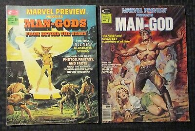 1975/76 Marvel Preview Magazine #1 VG/FN #9 FN- LOT of 2 Man-Gods / Neal Adams