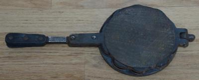 Lovely Old Belgian Cast Iron Waffle Making Irons With Short Handles