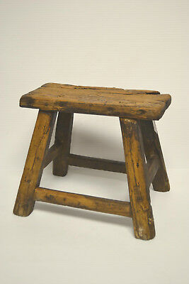 Asian Chinese Traditional  Solid Natural Wood Seat Sitting Stool .stand A-03