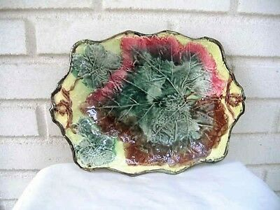 Outstanding Antique   Large Majolica  Handled Platter Leaves in Vibrant Colors