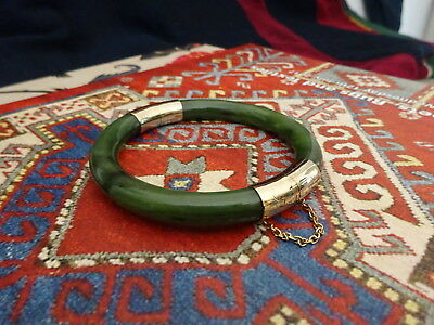 Quality Vintage Chinese Nephrite Jade & Yellow Metal Hinged Bangle
