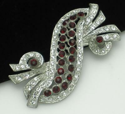 Signed SELECT Red Rhinestone Pot Metal Brooch Pin Vintage 1930s - 40s