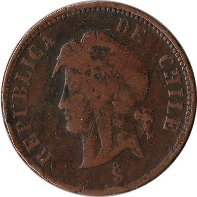 1898/88 Chile 2-1/2 Centavos Coin KM#150