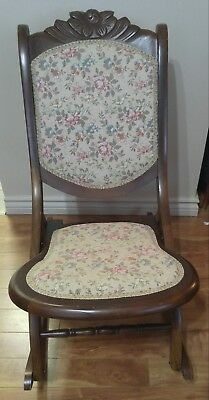 Antique Wood Folding Rocking Chair Upholstered 1940s -50s