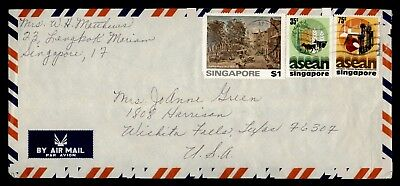 1977 Singapore Tri Franked Airmail To Usa