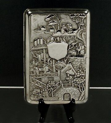 """Chinese Export Silver Cigar Case   c1880  WOSHING    """" FOUR LEVEL FIGURE SCENE """""""