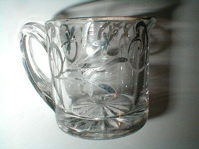 Art Deco Nouveau Clear Pressed Glass Creamer/Pitcher w Sterling Silver Overlay