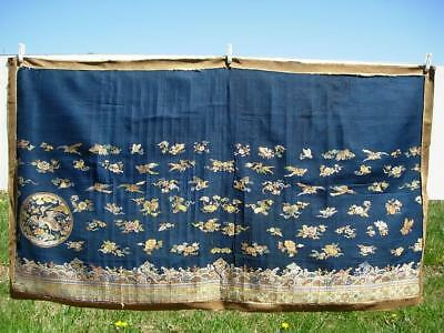 A Nice Antique Chinese Blue Silk Gauze Panel With Cranes, Pumpkins Above Waves
