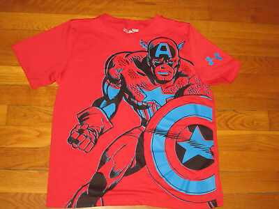 Under Armour Heatgear Captain America Short Sleeve Loose Jersey Boys Large Exc
