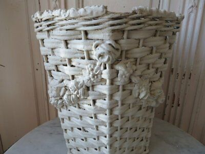 FABULOUS OLD Vintage WICKER FLOWER BARBOLA BASKET WHITE Thick Gesso Roses Flower