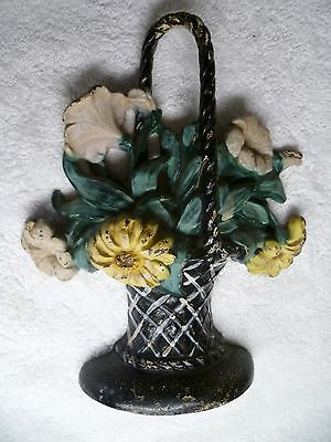 Vintage HUBLEY #120 Cast Iron DOOR STOP Floral Basket