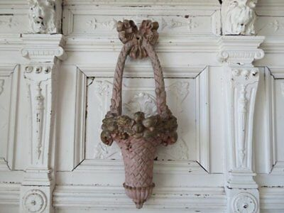 FABULOUS OLD Vintage PINK Hanging WALL POCKET Basket with BOW Fruits Flowers
