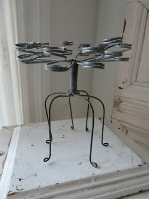 FABULOUS Old Vintage METAL FLOWER FROG Fancy Hard to Find Tall Holders 6 Legs