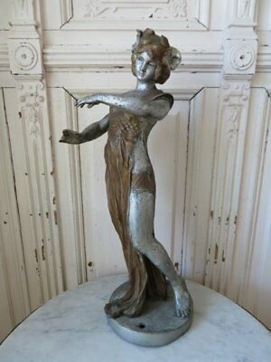 OMG Old Vintage Metal STATUE GORGEOUS WOMAN Patina Flowers in Hair GREAT POSE