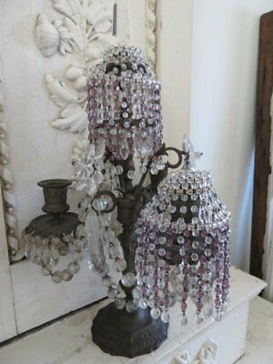 PAIR EXQUISITE OLD Vintage BEADED DOME LIGHT SHADES Clear & Pink Glass Crystals