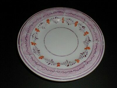 English Staffordshire Pink Lustre Hand Painted Floral 7-1/4 Plate 1820 (loc-X9)