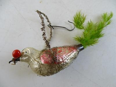 Antique Mercury Glass Christmas Ornament Figural Bird Feather Tree Tail Berry