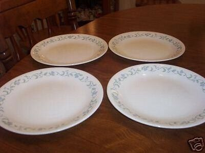 4 Corelle COUNTRY COTTAGE Blue Heart Dinner Plates-Set of Four (loc-bas : corelle country cottage dinner plates - pezcame.com