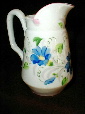 Antique English Staffordshire Hand Paint Floral Creamer  467/2