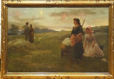 Fine Large 19th Century English Sunset Lovers Unrequited Love Girls Landscape