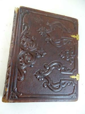 Antique 1800s Victorian Photo Album Book Leather Brass Latch Vintage CDV Cabinet