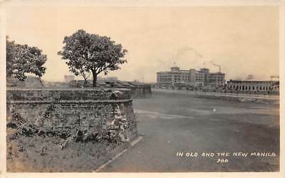 MANILA, PHILIPPINE IS, OLD CITY WALL & NEW BUILDINGS, REAL PHOTO PC c. 1910-20's