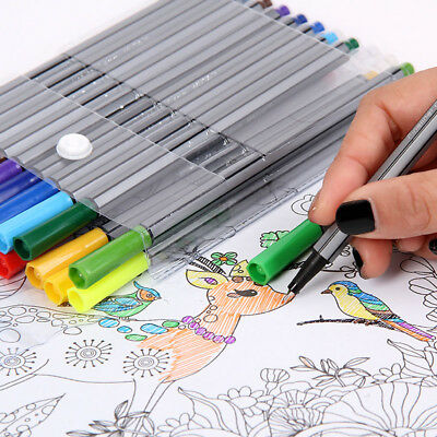 24 Colors Fine Line Pen Waterproof Writing Marker Sketching Art Pens Set