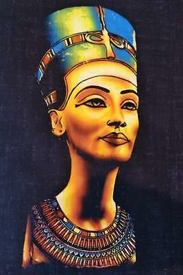 Unique Signed Handmade Papyrus Egyptian Queen Nefertiti Mask Painting_17x13 Inch