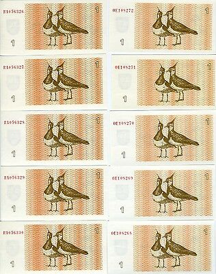LOT Lithuania, 10 x 1 Talona 1992, P-39, EX-USSR, UNC, Lapwings