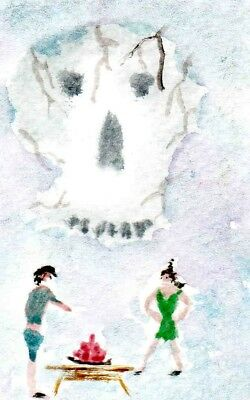 """ACEO - """"THE JELLY OF DEATH""""  original watercolour painting by Adrian Appleby"""