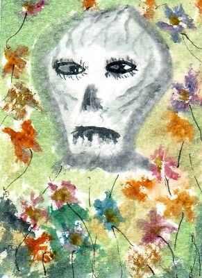 """ACEO - """"DEATH COMES WITH FLOWERS""""  original watercolour  by Adrian Appleby"""
