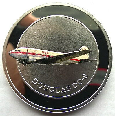 Lebanon 2015 Douglas DC-3 5 Livres Gold Plated Silver Coin,Proof