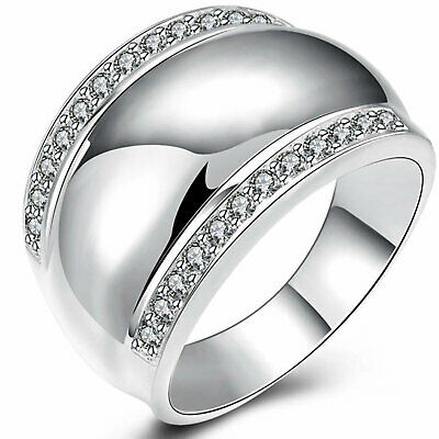 Ring Genuine Real 925 Sterling Silver S/f Ladies Diamond Simulated  Design Us 8