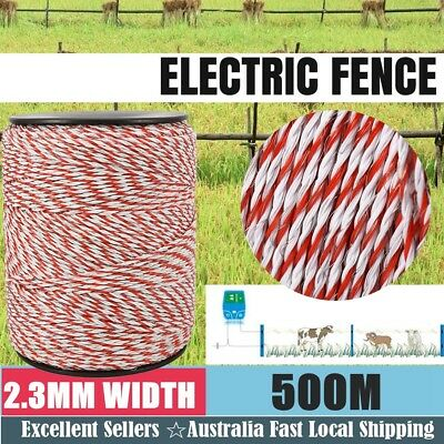 500m Roll Poly Highly Visible Electric Fence Energiser Stainless Steel Polywire